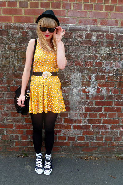 black-converse-shoes-yellow-h-m-dress-black-h-m-hat-black-vintage-cardigan_400