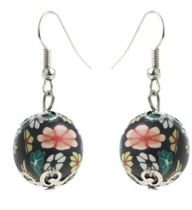 Glamour Floral Bead Earrings Black - Zando R39