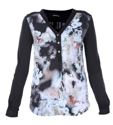 G Couture Mixed Fabric Top with Floral Print Multi